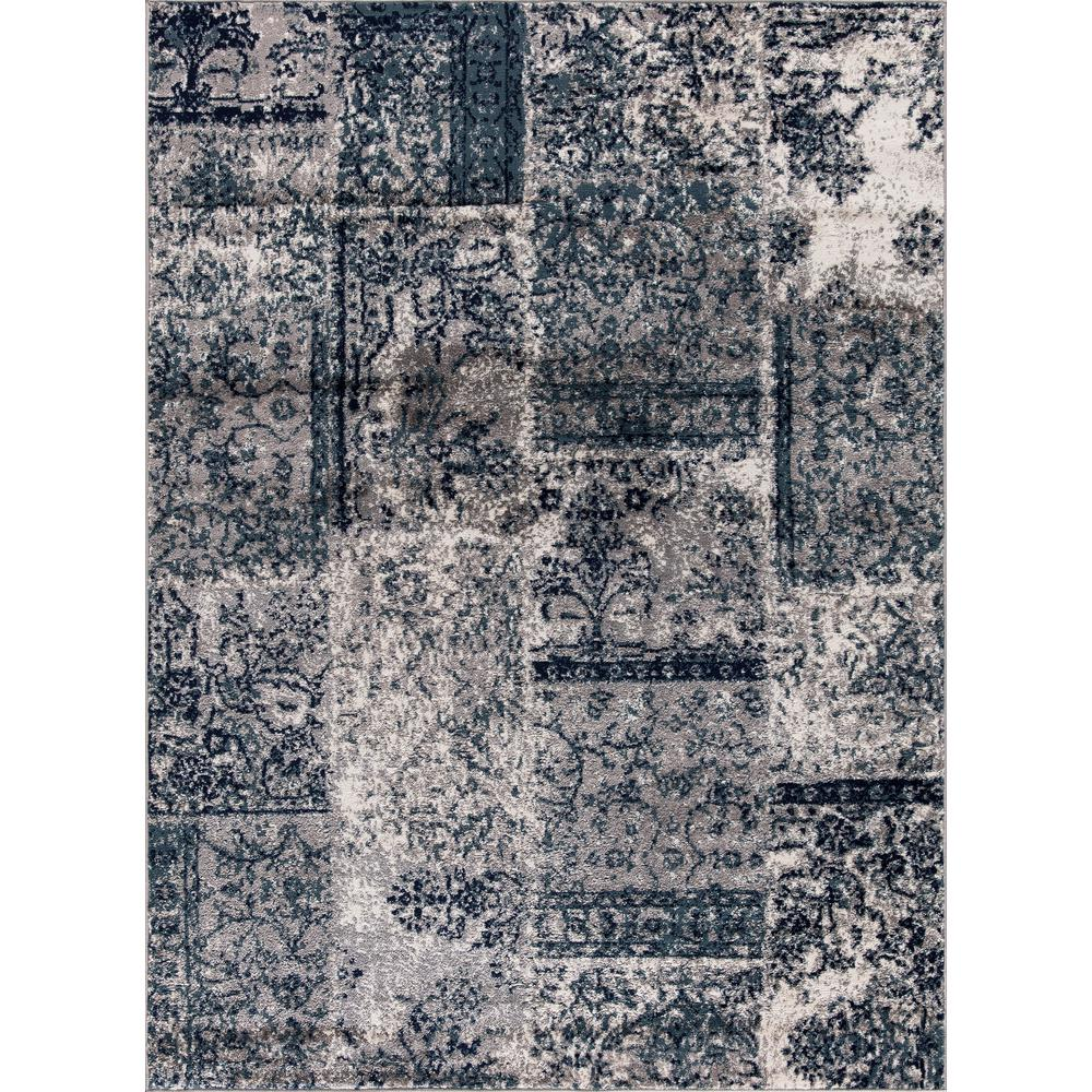 Jasmin Collection Damask Patchwork Design Gray And Teal 5