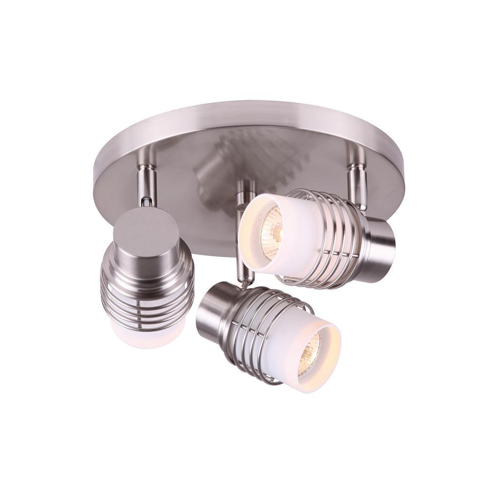 Ashby 1.1 ft. 3-Light Brushed Nickel Halogen or LED Track Lighting Kit