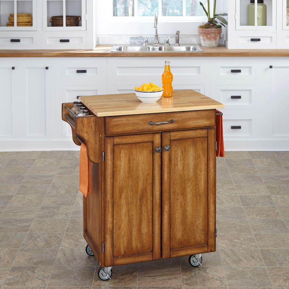 Home Styles Create A Cart Warm Oak Kitchen With Natural Wood Top 9001 0061 The Depot