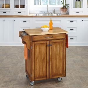 Home Styles Create-a-Cart Warm Oak Kitchen Cart With Natural Wood Top by Home Styles