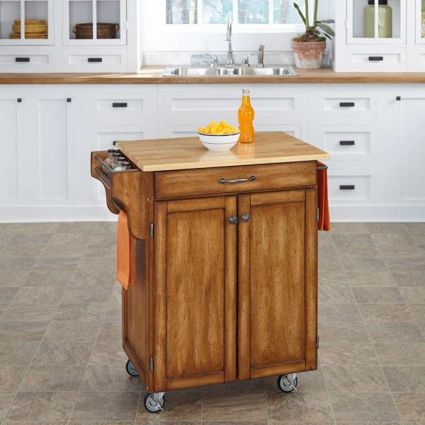 Home Styles Create-a-Cart Warm Oak Kitchen Cart With Natural Wood Top