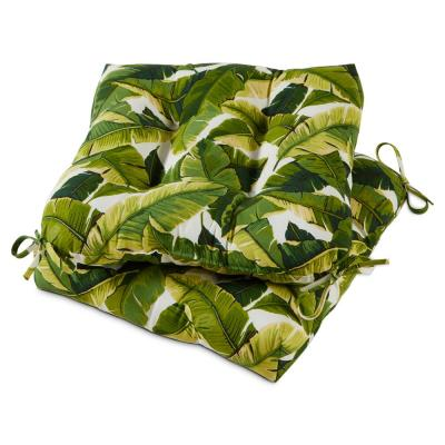 Palm Leaves White Square Tufted Outdoor Seat Cushion (Set of 2)