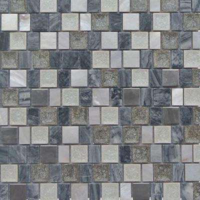 Charm II Rocky Glass and Stone Floor and Wall Tile - 3 in. x 6 in. Tile Sample