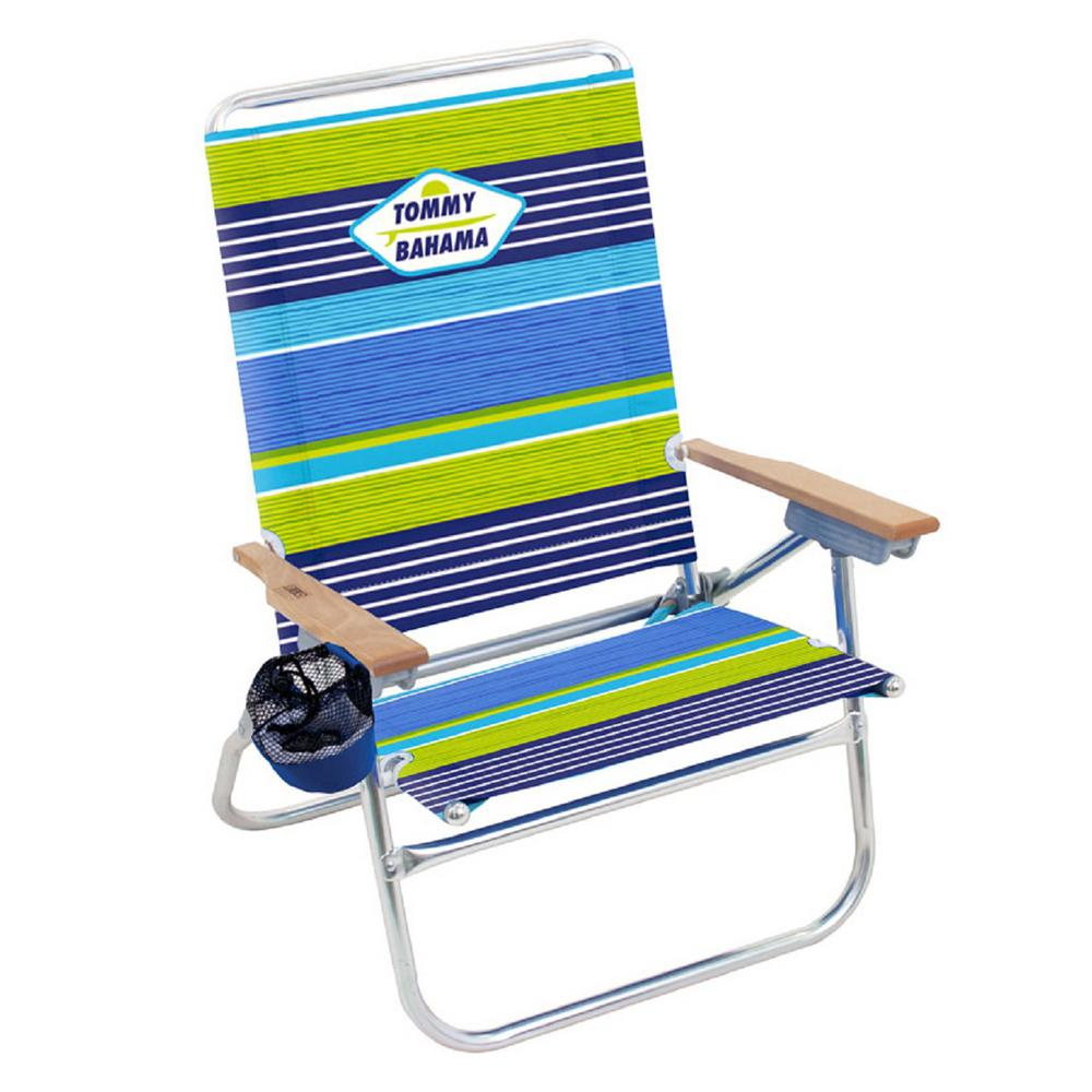 Tommy Bahama Striped Easy In And Out Aluminum Fabric Reclining 4 Position Beach Chair