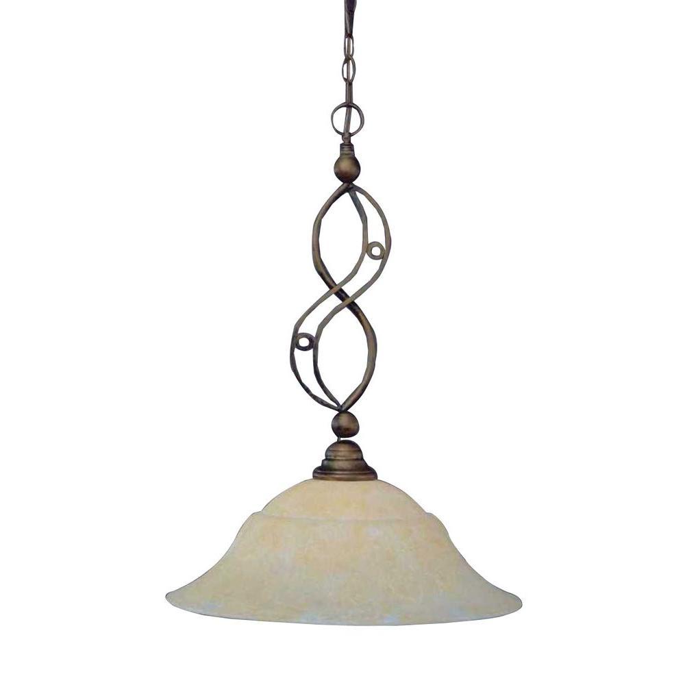 Concord 1-Light Bronze Pendant with Amber Marble Glass