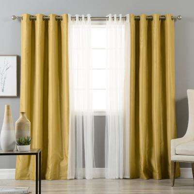 84 in. L uMIXm Tulle and Gold Faux Silk Blackout Curtain (4-Pack)