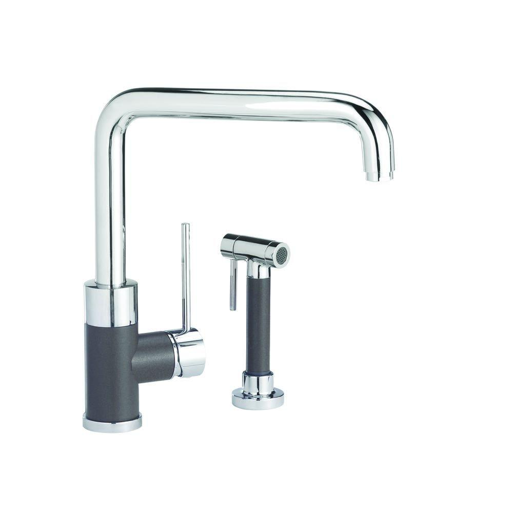 Blanco Purus I Single-Handle Standard Kitchen Faucet with Side Sprayer in Cafe Brown/Chrome Mix