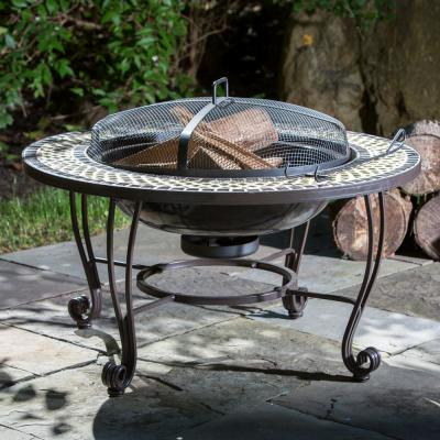 Shannon 34 in. x 18 in. Round Steel Wood Burning Fire Pit in Black with Decorative Green Tile Rim