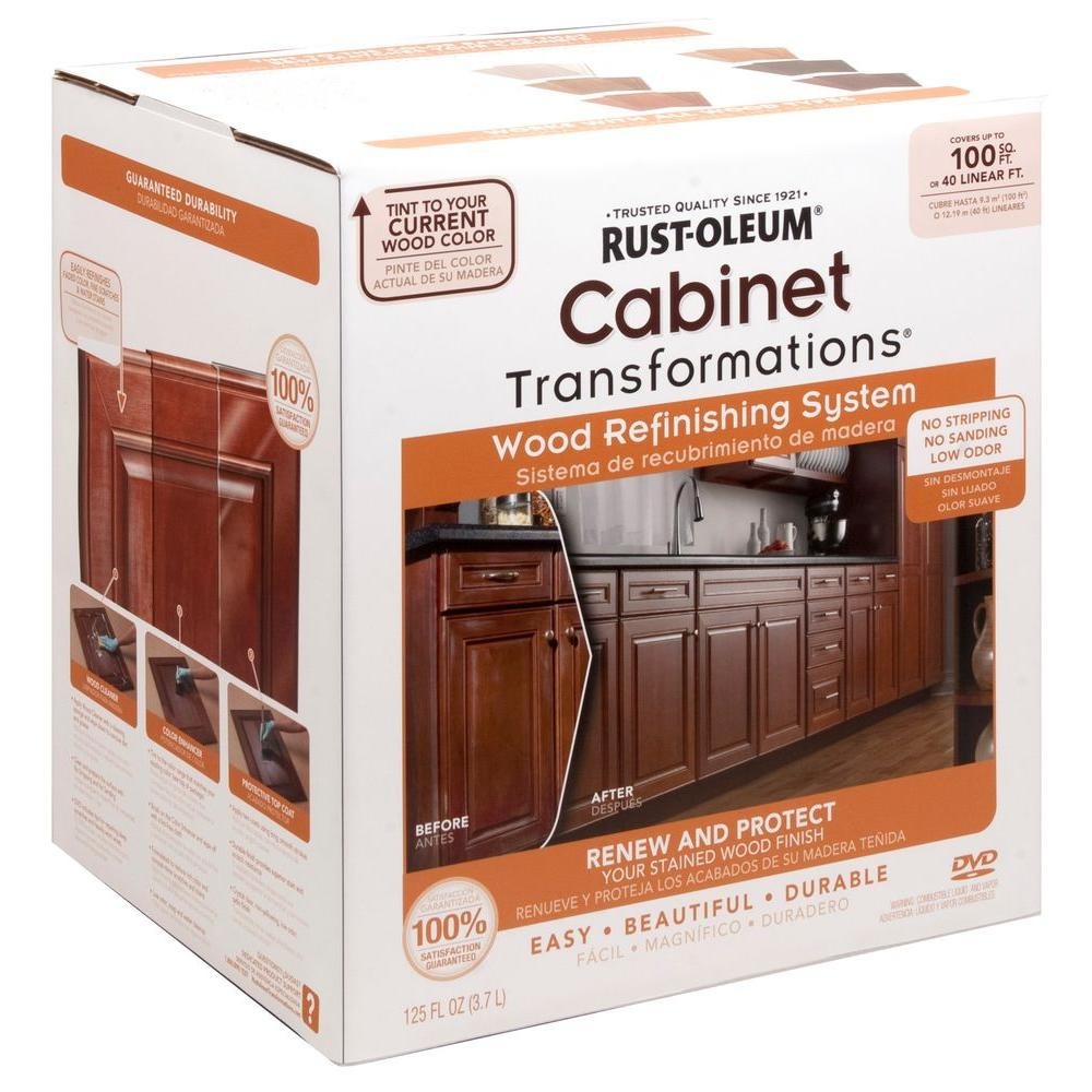 kitchen cabinet kits home depot rust oleum transformations cabinet wood refinishing system 7863