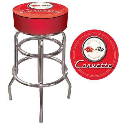 Corvette C1 31 in. Chrome Swivel Cushioned Bar Stool