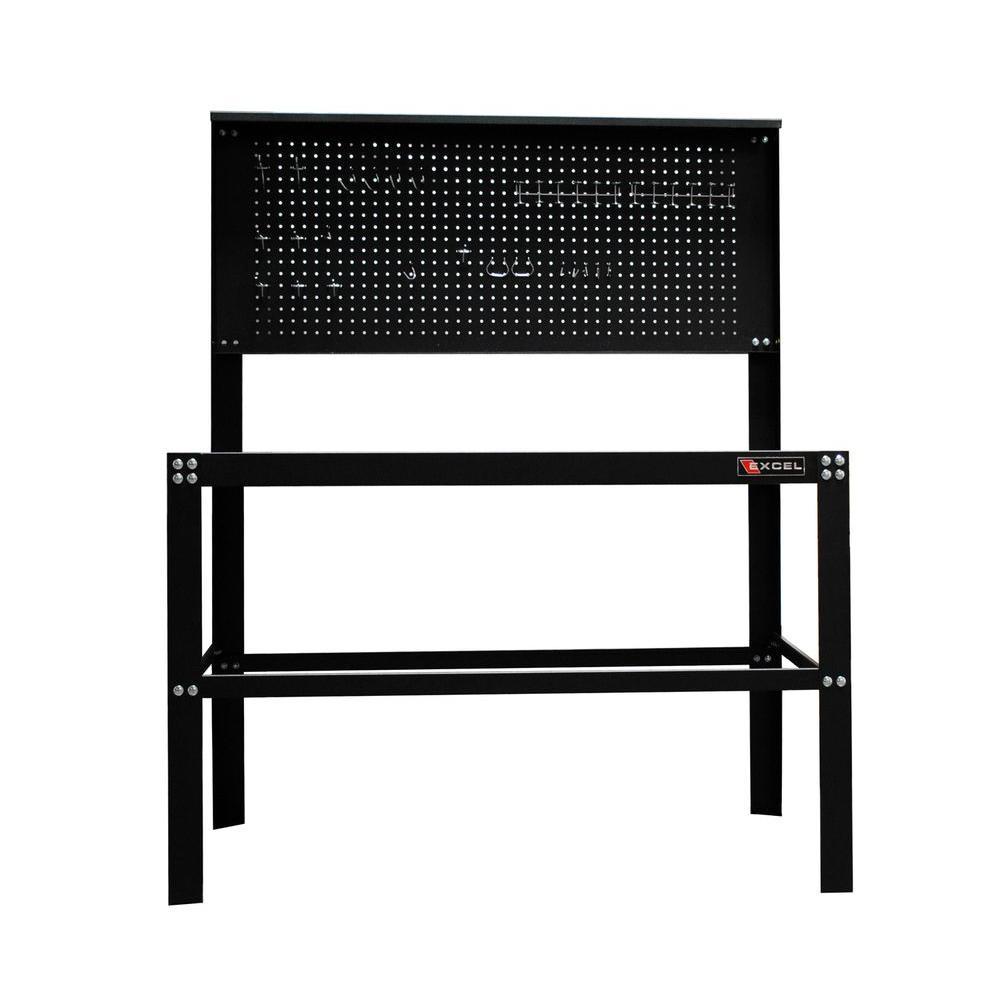 Excel 48 in. W x 24.4 in. D x 59.8 in. H Each Steel Work Bench in Black