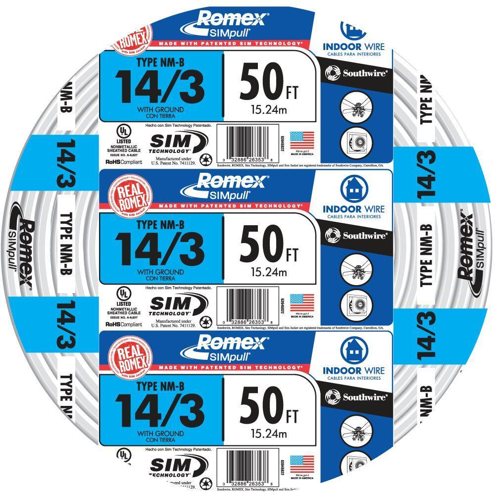 50 ft. 14/3 Solid Romex SIMpull CU NM-B W/G Wire