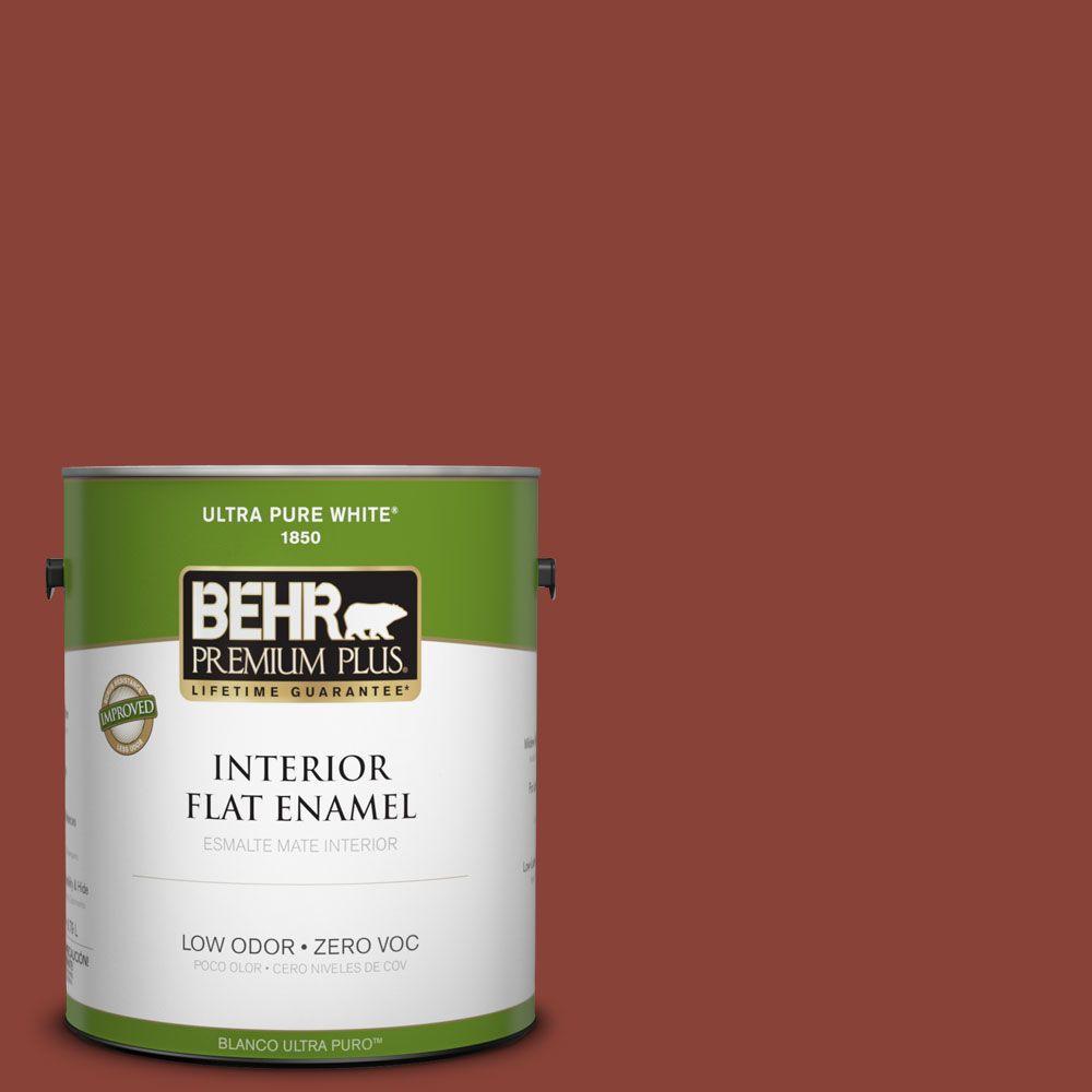 BEHR Premium Plus 1-gal. #PPF-30 Deep Terra Cotta Zero VOC Flat Enamel Interior Paint-DISCONTINUED