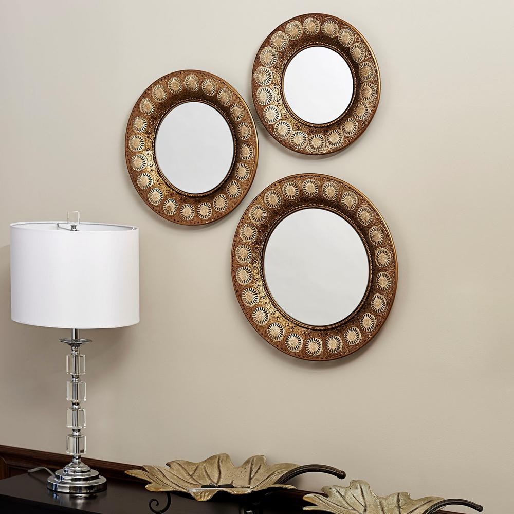 Household Essentials Round Gold Mirror Set Of 3 2380 1 The Home Depot