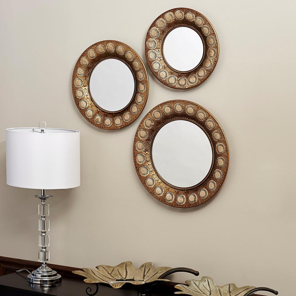 Household Essentials Round Gold Mirror Set Of 3