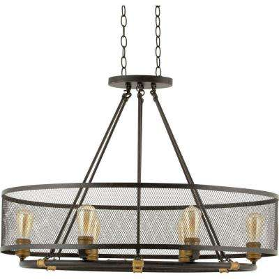 Heritage Collection 6-Light Forged Bronze Chandelier with Mesh Shade