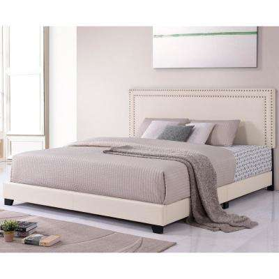 Beige King Size Upholstered Platform Bed with Nailhead