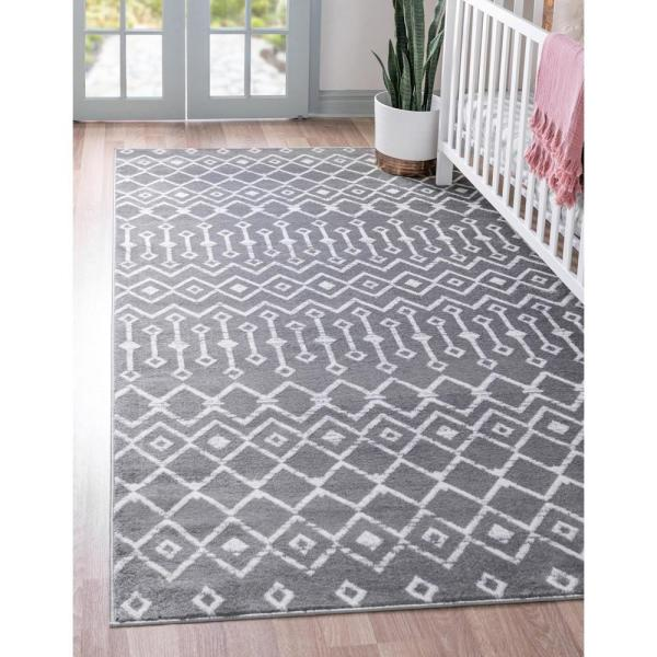 Unique Loom Moroccan Trellis Dark Gray 9 Ft X 12 Ft Area Rug 3147542 The Home Depot
