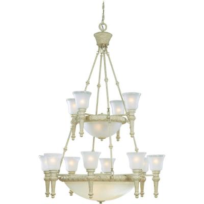 Alexandria 17-Light Indoor Golden Coral Hanging Chandelier with Etched Seedy Glass Shades (Clear Edge) and Center Bowl