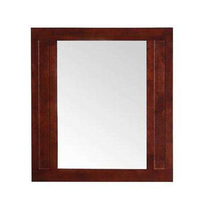 Aberdeen 33 in. x 36 in. Framed Wall Mirror in Dark Cherry