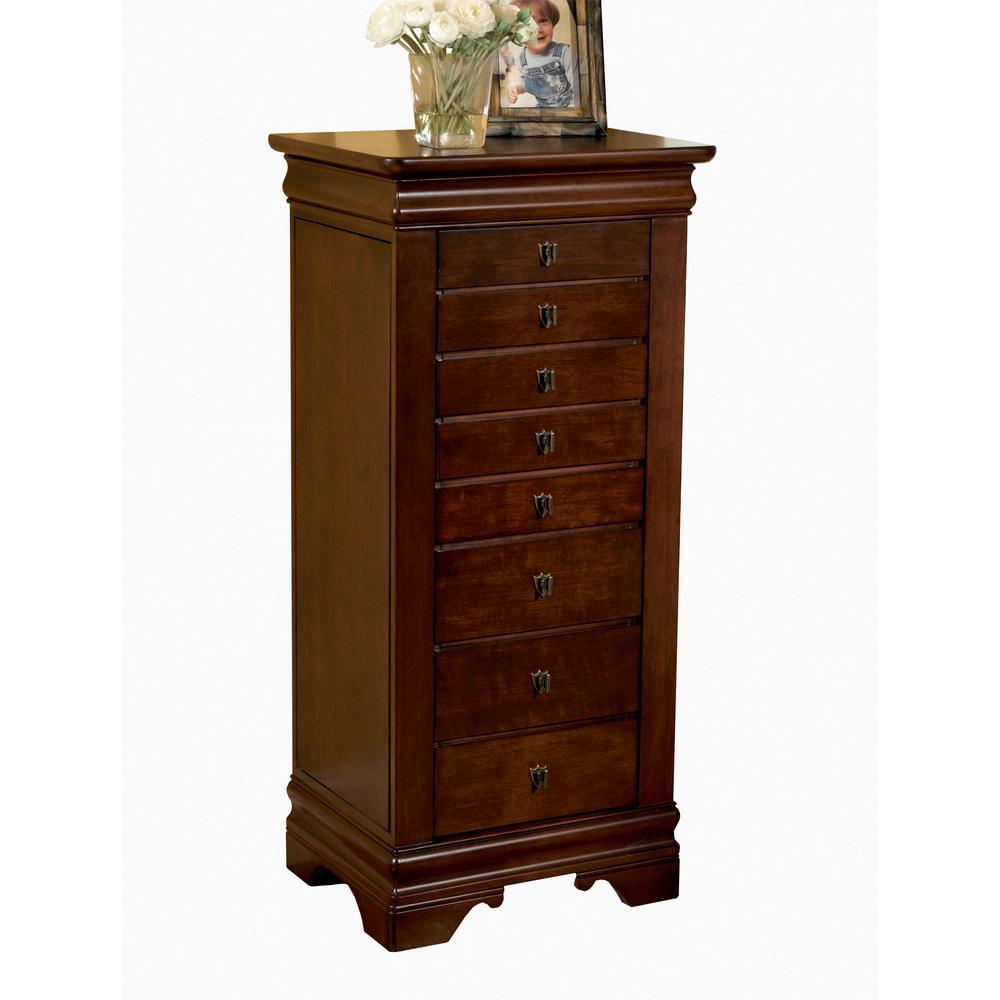 Powell Louis Philippe Jewelry Armoire With Mirror Marquis Cherry