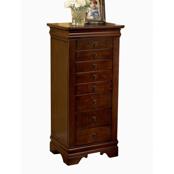 Powell Louis Philippe Jewelry Armoire with Mirror - Marquis Cherry 508-315