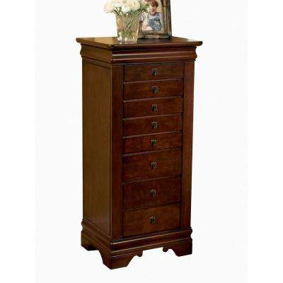 Louis Philippe Jewelry Armoire with Mirror - Marquis Cherry