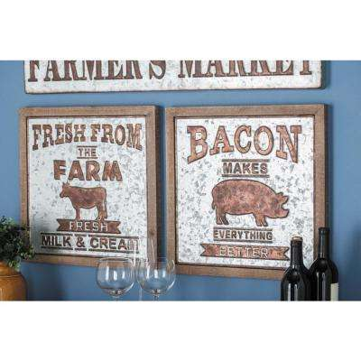 18 in. x 18 in. Pop Arts Metal and Wood Wall Sign
