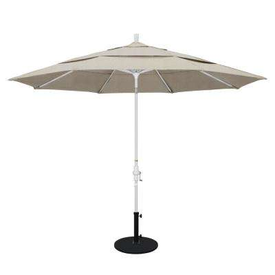 11 ft. Aluminum Collar Tilt Double Vented Patio Umbrella in Granite Olefin