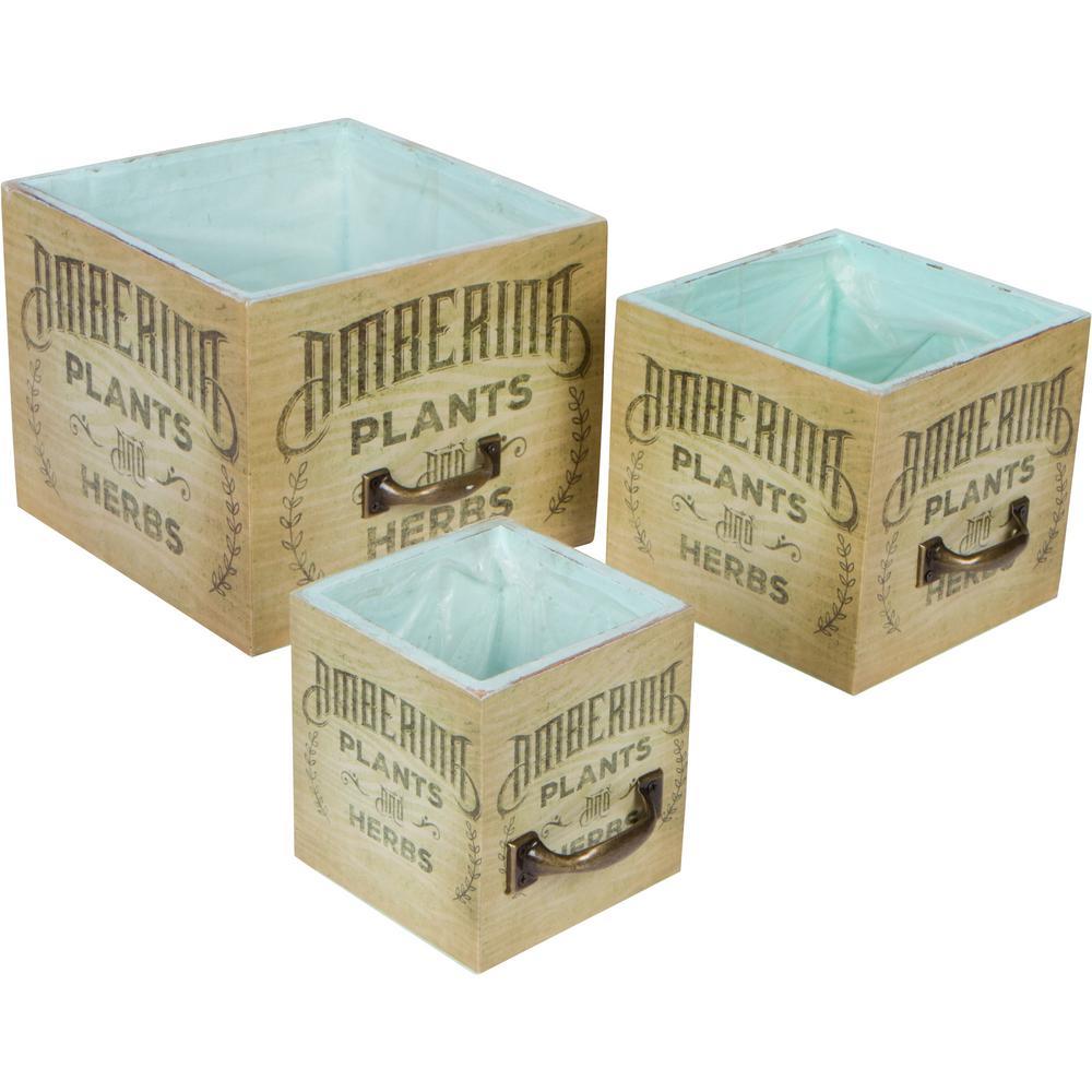 Vintage Style Cedar Wood Succulent Planter Boxes (Set of 3)