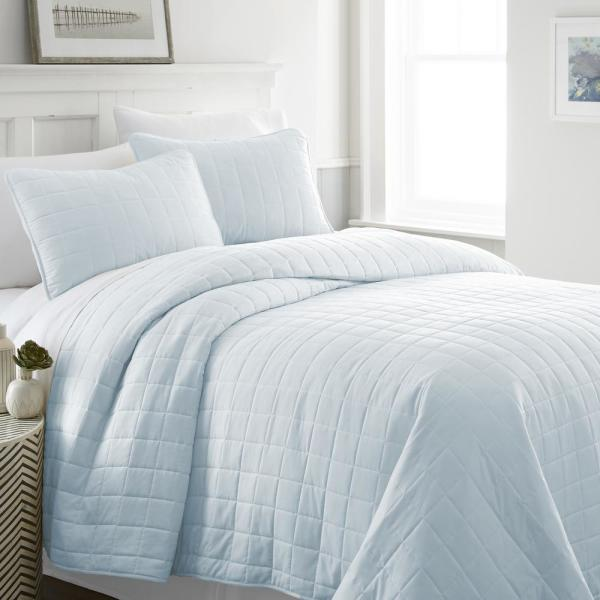 Becky Cameron Square Pale Blue Queen Performance Quilted Coverlet Set