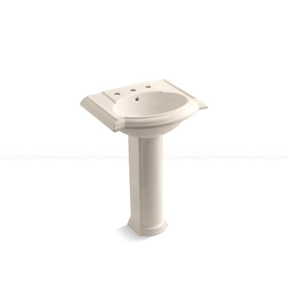 KOHLER Devonshire 8 in. Pedestal Bathroom Sink Combo in Innocent Blush-DISCONTINUED