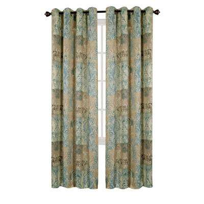 Vogue Blue Grommet Window Curtain Panel - 50 in. W x 63 in. L