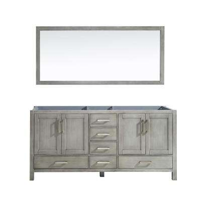 Jacques 72 in. Double Bath Vanity Cabinet Only with Mirror in Distressed Grey