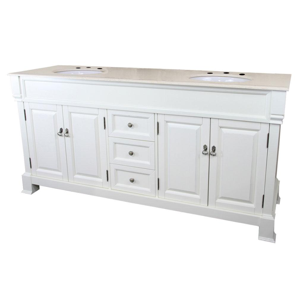 Bellaterra Home Blythe 72 in. W x 22.5 in. D Double Vanity in Cream White with Marble Vanity Top in Cream with White Basins
