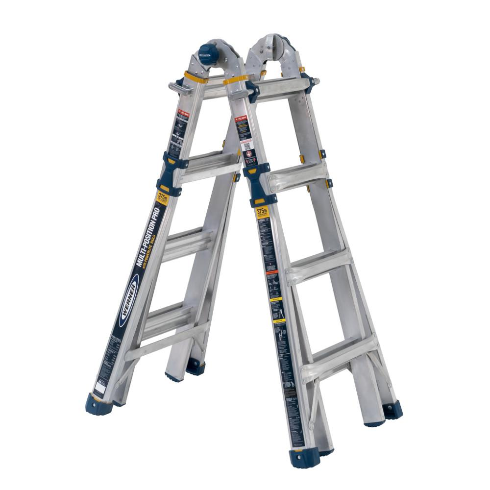 Werner 18 Ft Reach Aluminum 5 In 1 Multi Position Pro Ladder With Powerlite Rails 375 Lbs Load Capacity Type Iaa Duty Rating Mt 18iaa The Home Depot