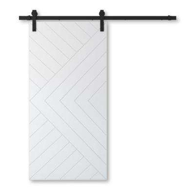 42 in. x 96 in. AZTEC Solid Core White Wood Modern Barn Door with Sliding Core Hardware Kit