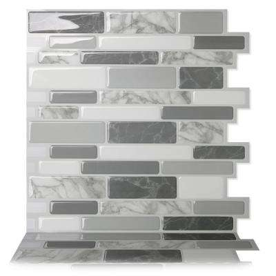 Polito Gray 10 in. W x 10 in. H Peel and Stick Self-Adhesive Decorative Mosaic Wall Tile Backsplash (5-Tiles)
