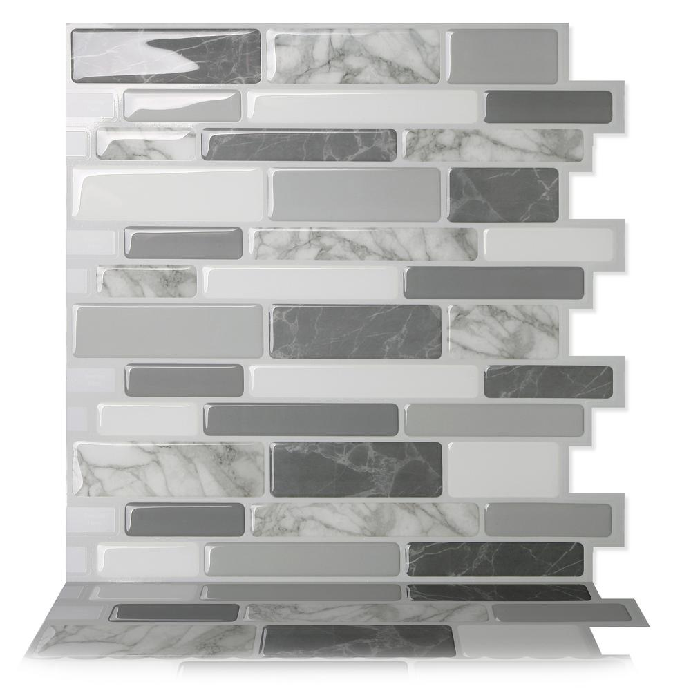 Tic Tac Tiles Polito Gray 10 In W X 10 In H Multi Color Peel