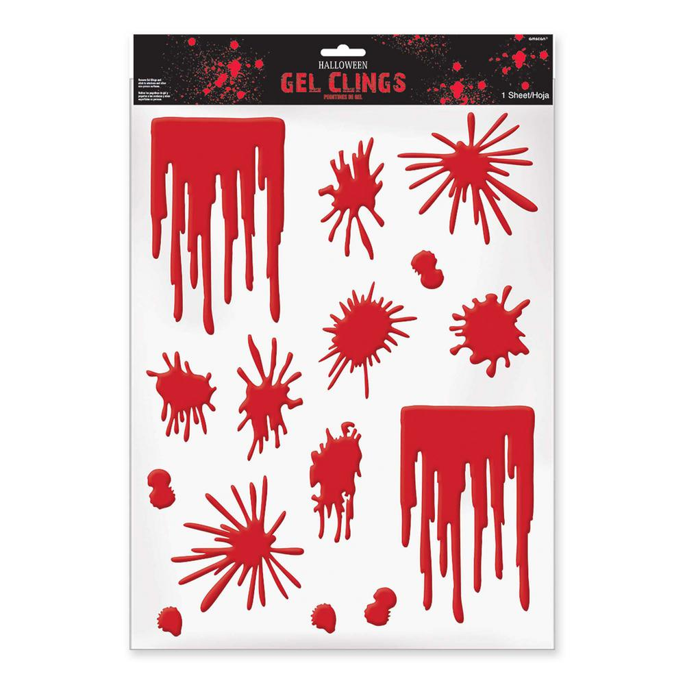 Halloween Blood Splats and Drips Gel Clings (3-Pack)