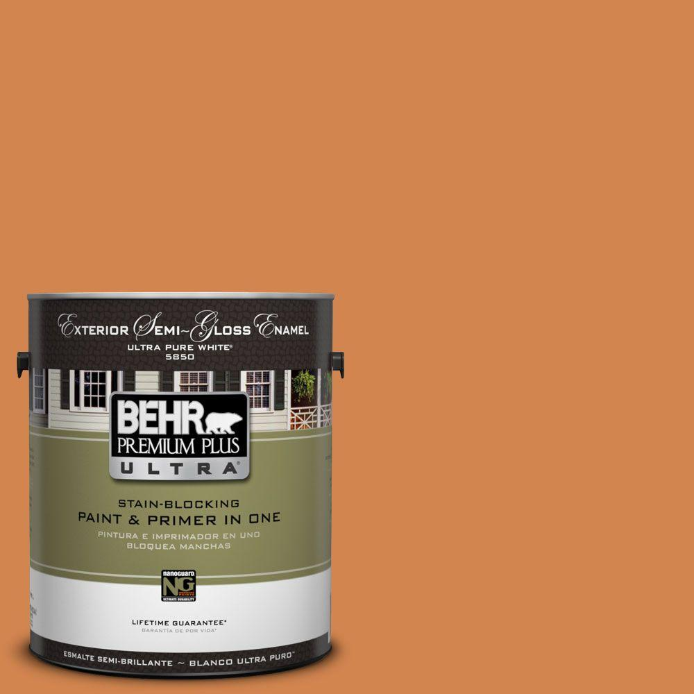 BEHR Premium Plus Ultra 1-Gal. #UL120-10 Flaming Torch Semi-Gloss Enamel Exterior Paint