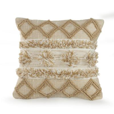 20 in. x 20 in. Neutral Soft Pom Pom Beige/White Geometric Polyester Standard Throw Pillow