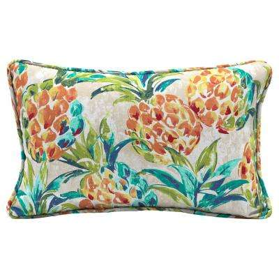 Pineapples Lumbar Outdoor Throw Pillow