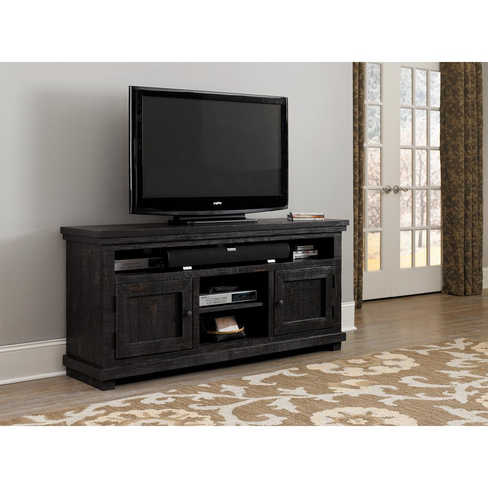 Willow 64 in. Distressed Black Wood TV Stand Fits TVs Up to 55 in. with Storage Doors