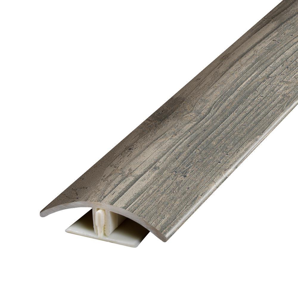 Henlopen Grey Oak 0.37 in. Thick x 1.75 in. Wide x 78.7 in. Length Vinyl 2-in-1 Molding