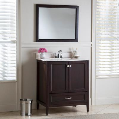 Claxby 31 in. W x 22 in. D Bathroom Vanity in Chocolate with Stone Effect Vanity Top in Dune with White Sink