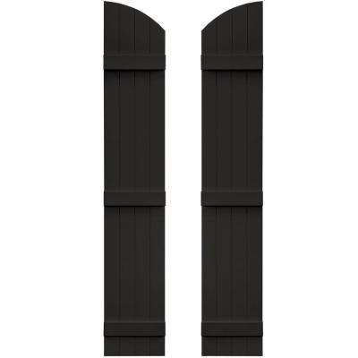 14 in. x 77 in. Board-N-Batten Shutters Pair, 4 Boards Joined with Arch Top #002 Black
