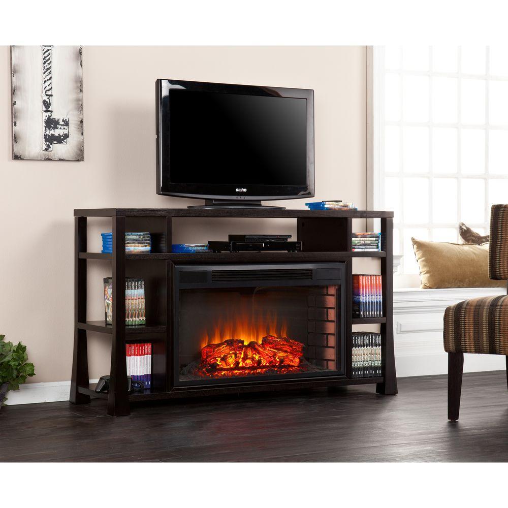 Aspen 55.25 in. Freestanding Media Electric Fireplace in Ebony Stain
