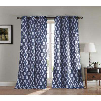 Blackout Kittattinny 112 in. L Blackout Grommet Panel in Indigo (2-Pack)