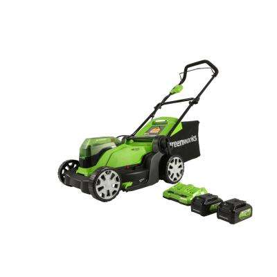 17 in. 48-Volt (2 x 24-Volt) Battery Walk Behind Push Mower, 2 x 24-Volt 4Ah Batteries and Dual Port Charger Included